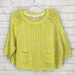 Moth Anthropologie Marled Swing Knit Crop Sweater